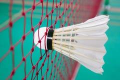 Badminton. Shuttlecock on net, badminton sports Royalty Free Stock Images