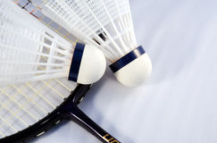Badminton shuttlecock and racket Royalty Free Stock Photo