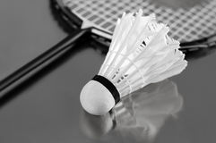 Badminton shuttlecock and racket Stock Photography
