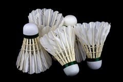 Badminton Shuttlecocks on Black Background Royalty Free Stock Photography