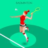 Badminton-Spieler-Sommer-Spiel-Ikonen-Satz isometrischer Spieler des Badminton-3D Sport- Meisterschafts-internationaler Badminton lizenzfreie abbildung