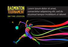 Badminton sport invitation poster or flyer background with empty space, banner template. On black background stock illustration