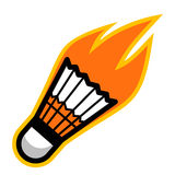 Badminton sport shuttlecock comet fire tail flying logo. Isolated symbol badge label Stock Photography