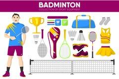 Badminton sporta wyposażenia gracza gemowej szaty akcesoryjne wektorowe ikony ustawiać Obrazy Royalty Free