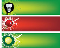 Badminton, table tennis and tennis banners Stock Images