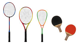Badminton, tennis, squash and table tennis equipment vector illu Royalty Free Stock Image