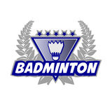 Badminton Tournament logo with flounce and laurel wreath. Vector Illustration.  on White Royalty Free Stock Photos