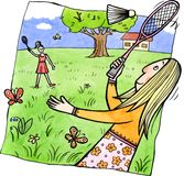 Badminton. Two girls are playing badminton in the park. Watercolor and ink illustration Stock Photography