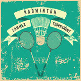 Badminton typographic vintage grunge style poster. Retro vector illustration with rackets and shuttlecock. Royalty Free Stock Photo