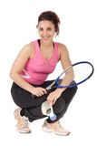 Badminton woman posing Royalty Free Stock Images