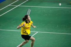 Badminton women's singles competition . Stock Photo