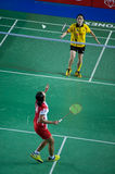 Badminton women's singles competition. Stock Images