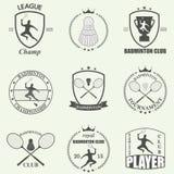 Badmintonaufkleber und -ikonen eingestellt Vektor Lizenzfreies Stockfoto
