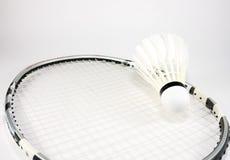 Badmintonracket en shuttle royalty-vrije stock foto's