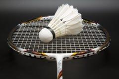 Badmintonracket och shuttlecock arkivbild