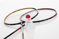 Badmintonracket och shuttlecock royaltyfri foto