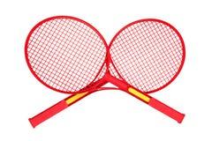 Badmintonracket op wit Stock Foto