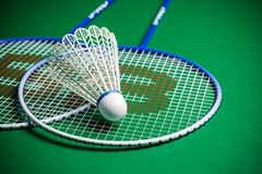 Badmintonrackets en shuttle op groene grond vector illustratie