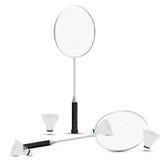 Badmintonrackets en shuttles met witte achtergrond Vector Illustratie Grafisch Ontwerp RGB Stock Afbeelding