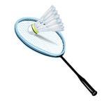 Badmintonshuttlecock och racket Arkivfoto