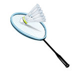 Badmintonshuttlecock und -schläger Stockfoto