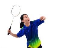 Badmintonspelare i handling Royaltyfri Fotografi