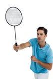 Badmintonspelare som spelar badminton Arkivbilder