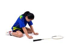 Badmintonspeler in actie royalty-vrije stock foto