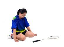 Badmintonspeler in actie stock afbeeldingen