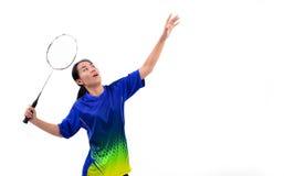 Badmintonspeler in actie royalty-vrije stock fotografie