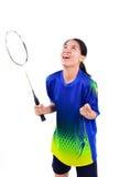 Badmintonspeler in actie royalty-vrije stock foto's