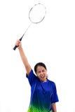 Badmintonspeler in actie royalty-vrije stock afbeelding