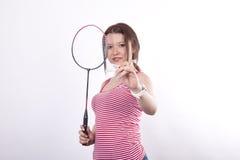 Badmintonspieler der jungen Frau Stockfoto