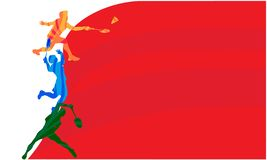 Badmintonspieler, Vektorillustration mit leerem Raum f?r Plakat, Fahne, Turniermitteilung stockfotos