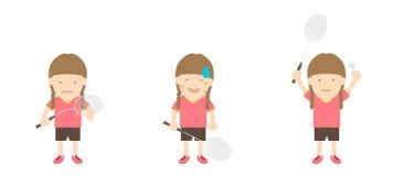 Badmintonspielerfrauen-Aktionssatz Vektor Abbildung