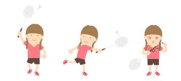 Badmintonspielerfrauen-Aktionssatz Stock Abbildung