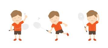 Badmintonspielermann-Aktionssatz Lizenzfreie Abbildung