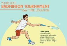 Badmintonsporteinladungsplakat- oder -fliegerhintergrund mit leerem Raum, Fahnenschablone Stockfotos