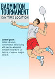 Badmintonsporteinladungsplakat- oder -fliegerhintergrund mit leerem Raum, Fahnenschablone Stockfotografie