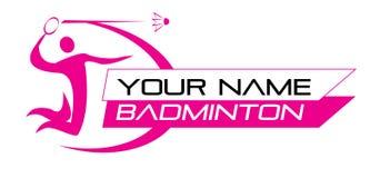 Badmintonsportlogo för Shop, domstolaffärs- eller Websitedesignen Royaltyfri Fotografi