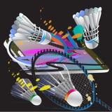 Badmintonsportschläger-Aktionsbürste Stockfoto