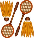 badmintonsymboler Royaltyfri Illustrationer