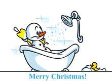 Badningen för julsnögubbetecken badar tecknade filmen Arkivbilder