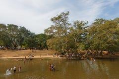 Badningfolk i floden, Sri Lanka Royaltyfri Fotografi