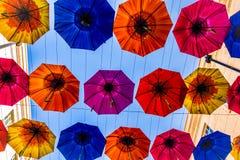 Badregenschirmanzeige, Großbritannien stockbilder