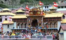 The Badrinath Temple, India. Badrinath or Badrinarayan Temple is a Hindu temple dedicated to Vishnu which is situated in the town of Badrinath in Uttarakhand Royalty Free Stock Images