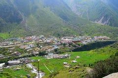 Badrinath Town in Valley, Uttarakhand, India. Badrinath is a town in Chamoli district in Uttarakhand, India... It is situated in in Badrinath Valley along Royalty Free Stock Photos