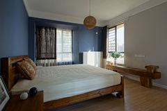 Badroom. Bright and spacious interior is very suitable for people to have a good night stock image