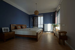 Badroom. Bright and spacious interior is very suitable for people to have a good night stock photography
