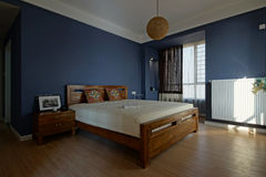 Badroom. Bright and spacious interior is very suitable for people to have a good night stock images